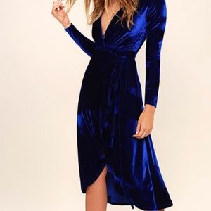 Lulus Enchant Me Cobalt Blue Velvet Wrap Dress